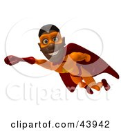 Friendly Black Male 3d Super Hero Flying With One Fist Forward
