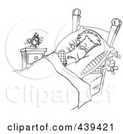 Royalty Free RF Clip Art Illustration Of A Cartoon Black And White Outline Design Of A Man Ready To Beat An Alarm Clock With A Hammer