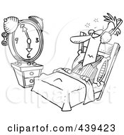 Royalty Free RF Clip Art Illustration Of A Cartoon Black And White Outline Design Of A Man Tuning Out An Alarm Clock With Ear Muffs
