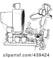 Royalty Free RF Clip Art Illustration Of A Cartoon Black And White Outline Design Of A Jittery Businessman Drinking Another Cup Of Coffee At A Computer