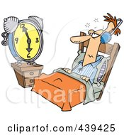 Cartoon Black And White Outline Design Of A Man Tuning Out An Alarm Clock With Ear Muffs