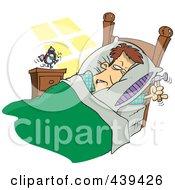 Cartoon Man Ready To Beat An Alarm Clock With A Hammer