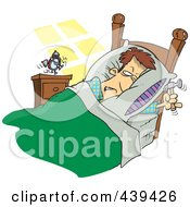 Royalty Free RF Clip Art Illustration Of A Cartoon Man Ready To Beat An Alarm Clock With A Hammer