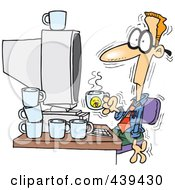 Royalty Free RF Clip Art Illustration Of A Cartoon Jittery Businessman Drinking Another Cup Of Coffee At A Computer