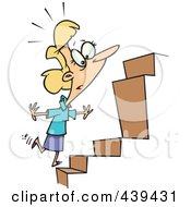 Royalty Free RF Clip Art Illustration Of A Cartoon Businesswoman Noticing An Inconsistency In Steps