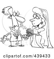 Cartoon Black And White Outline Design Of A Groom Allergic To His Brides Bouquet