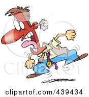 Royalty Free RF Clip Art Illustration Of A Cartoon Furious Businessman Stomping And Screaming by toonaday