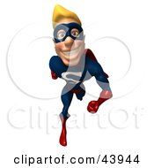 Clipart Illustration Of A Friendly Blond Male 3d Super Hero Running Forward
