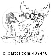 Royalty Free RF Clip Art Illustration Of A Cartoon Black And White Outline Design Of A Moose Writing An Anonymous Letter by toonaday