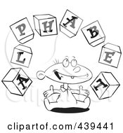 Cartoon Black And White Outline Design Of A Baby Playing With Alphabet Blocks