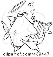 Cartoon Black And White Outline Design Of An Angelfish Playing A Lyre
