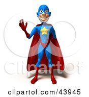 Clipart Illustration Of A Friendly 3d Super Hero Facing Front And Waving