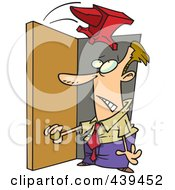 Royalty Free RF Clip Art Illustration Of A Cartoon Anvil Falling On A Businessman In A Doorway
