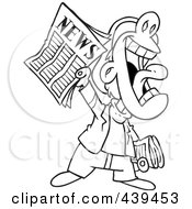 Royalty Free RF Clip Art Illustration Of A Cartoon Black And White Outline Design Of A News Boy Yelling An Announcement
