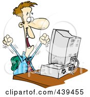 Royalty Free RF Clip Art Illustration Of A Cartoon Happy Businessman Working On A Computer by toonaday #COLLC439455-0008