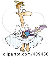 Royalty Free RF Clip Art Illustration Of A Cartoon Angel Man Playing A Guitar by toonaday
