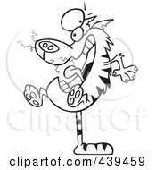 Royalty Free RF Clip Art Illustration Of A Cartoon Black And White Outline Design Of A Mad Cat Balanced On His Tail