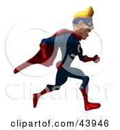 Clipart Illustration Of A Blond 3d Super Hero Running Right