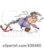 Royalty Free RF Clip Art Illustration Of A Cartoon Businessman Sinking With An Anchor
