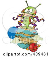 Royalty Free RF Clip Art Illustration Of A Cartoon Boy Alien On A Planet by toonaday