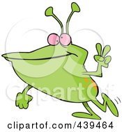 Royalty Free RF Clip Art Illustration Of A Cartoon Peaceful Alien by toonaday