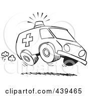 Royalty Free RF Clip Art Illustration Of A Cartoon Black And White Outline Design Of A Speeding Ambulance by toonaday