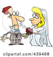 Royalty Free RF Clip Art Illustration Of A Cartoon Groom Allergic To His Brides Bouquet by Ron Leishman