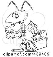 Royalty Free RF Clip Art Illustration Of A Cartoon Black And White Outline Design Of A Business Ant by toonaday