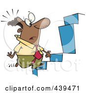 Royalty Free RF Clip Art Illustration Of A Cartoon Black Businessman Noticing An Anomaly In Steps