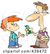 Royalty Free RF Clip Art Illustration Of A Cartoon Father Paying His Son Allowance