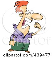 Royalty Free RF Clip Art Illustration Of A Cartoon Pissed Man Waving A Fist