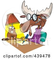Royalty Free RF Clip Art Illustration Of A Cartoon Moose Writing An Anonymous Letter by toonaday