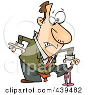Royalty Free RF Clip Art Illustration Of A Cartoon Businessman In A Sticky Situation by toonaday