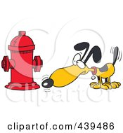 Royalty Free RF Clip Art Illustration Of A Cartoon Dog Anticipating Relieving Himself On A Hydrant