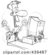 Royalty Free RF Clip Art Illustration Of A Cartoon Black And White Outline Design Of A Happy Businessman Working On A Computer