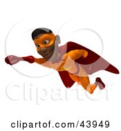 Clipart Illustration Of A Flying Black Male 3d Super Hero With One Fist Forward