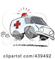 Royalty Free RF Clip Art Illustration Of A Cartoon Speeding Ambulance