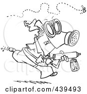 Royalty Free RF Clip Art Illustration Of A Cartoon Black And White Outline Design Of A Man Chasing Down An Annoying Fly With Bug Spray