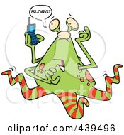 Royalty Free RF Clip Art Illustration Of A Cartoon Alien Using A Cell Phone by toonaday