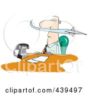 Royalty Free RF Clip Art Illustration Of A Cartoon Paper Plane Annoying A Businessman by toonaday
