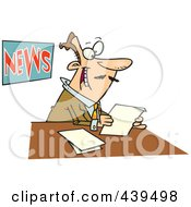Royalty Free RF Clip Art Illustration Of A Cartoon News Anchorman Reading by toonaday