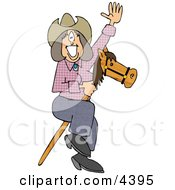 Happy Smiley Cowgirl Riding A Toy Stick Horse Clipart