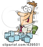 Royalty Free RF Clip Art Illustration Of A Cartoon Jittery Businessman With Coffee Cups At A Table