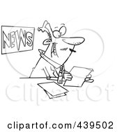 Royalty Free RF Clip Art Illustration Of A Cartoon Black And White Outline Design Of A News Anchorman Reading by toonaday