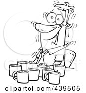 Royalty Free RF Clip Art Illustration Of A Cartoon Black And White Outline Design Of A Jittery Businessman With Coffee Cups At A Table