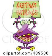 Royalty Free RF Clip Art Illustration Of A Cartoon Greeting Alien by toonaday