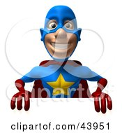 Clipart Illustration Of A Friendly 3d Super Hero Promoting And Holding Up A Blank White Board