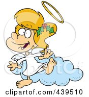 Royalty Free RF Clip Art Illustration Of A Cartoon Angel Girl With Holly In Her Hair
