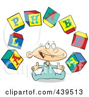 Royalty Free RF Clip Art Illustration Of A Cartoon Baby Playing With Alphabet Blocks by toonaday