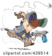 Royalty Free RF Clip Art Illustration Of A Cartoon Man Chasing Down An Annoying Fly With Bug Spray by Ron Leishman
